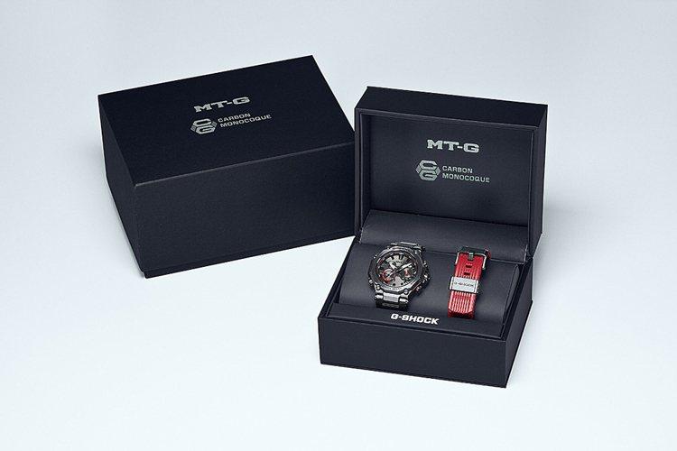 G-SHOCK MTG-B2000BDE腕表,還隨表附贈紅色橡膠表帶。圖/Cas...