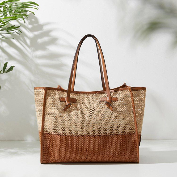 Marcella ECO棕色鏤空鉤織托特包,13,800元。圖/Gianni C...