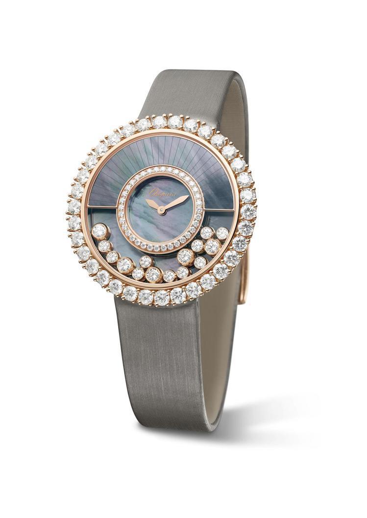 Happy Diamonds珠寶表,符合倫理道德標準的18K玫瑰金鑲鑽表殼、大溪...