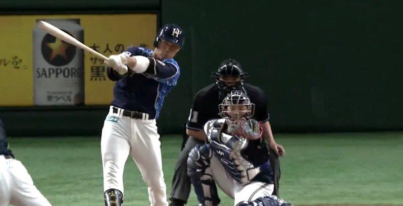 日本火腿隊今天在東京巨蛋對決歐力士,旅日好手王柏融2局下首次打擊掃出右外野陽春砲,本季首轟出爐。 截圖自影片