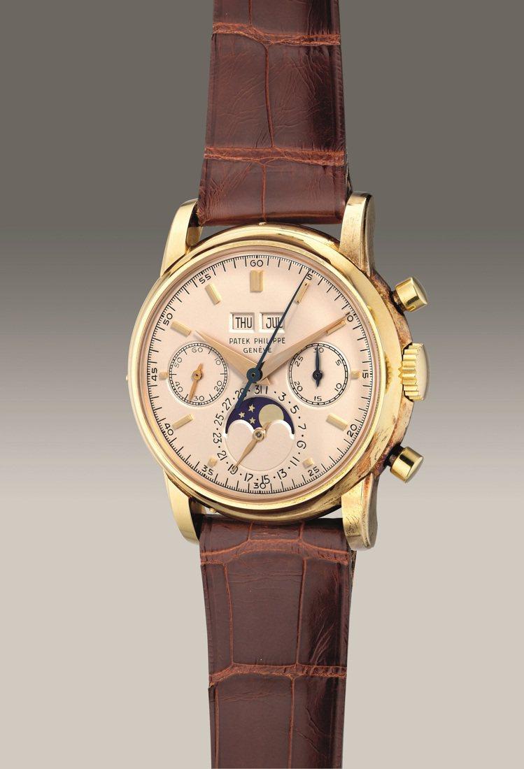 百達翡麗第三代型號2499,18K黃金萬年曆計時腕表,備月相顯示,1977年製,...