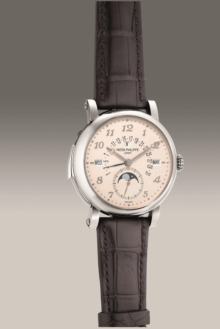 百達翡麗型號5213G-010,18K白金自動三問萬年曆腕表,2020年製,估價...