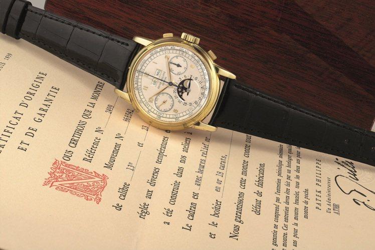 百達翡麗第一代型號2499 ,18K黃金萬年曆計時腕表, 1953年製,是目前市...