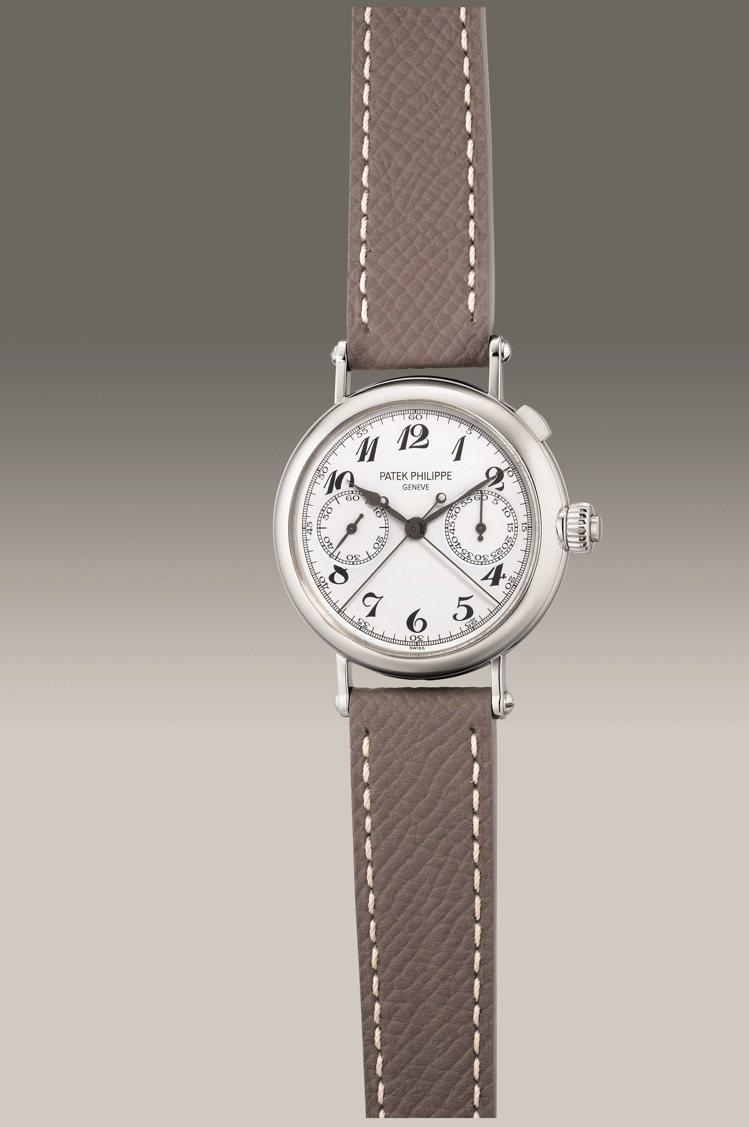 百達翡麗型號5959P-001,鉑金追針計時腕表,2007年製,估價124萬8,...