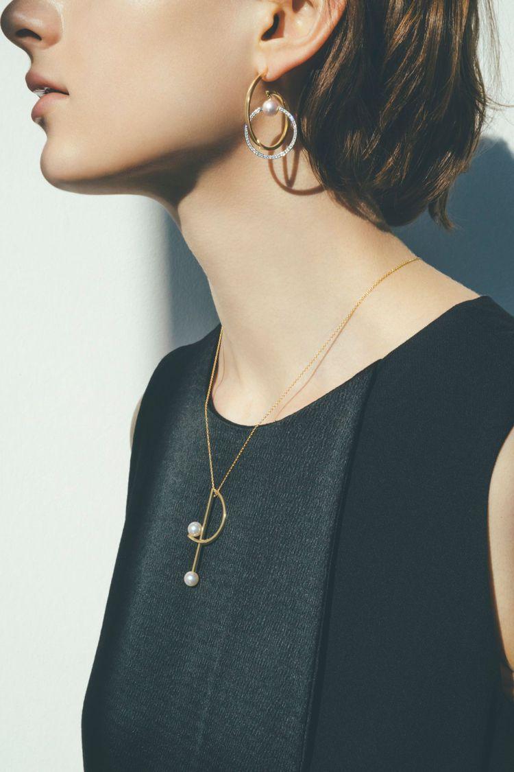 TASAKI推出全新春夏新品,以極具創意的幾何線條搭配珍珠,巧玩視覺平衡。圖/T...