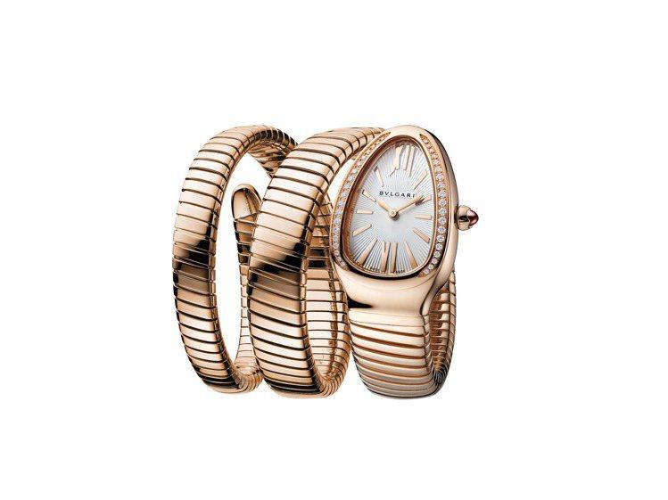 BVLGARI Serpenti Tubogas雙圈玫瑰金鑲鑽腕表,129萬9,...