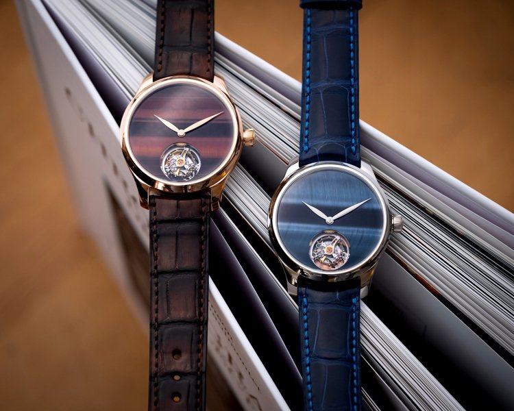 亨利慕時勇創者陀飛輪虎眼石概念腕表,鷹眼石白金款(右)、牛眼石紅金款(左),全球...