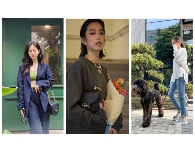曾之喬、陳庭妮、昆凌詮釋Saddle Bag系列。圖/COACH提供