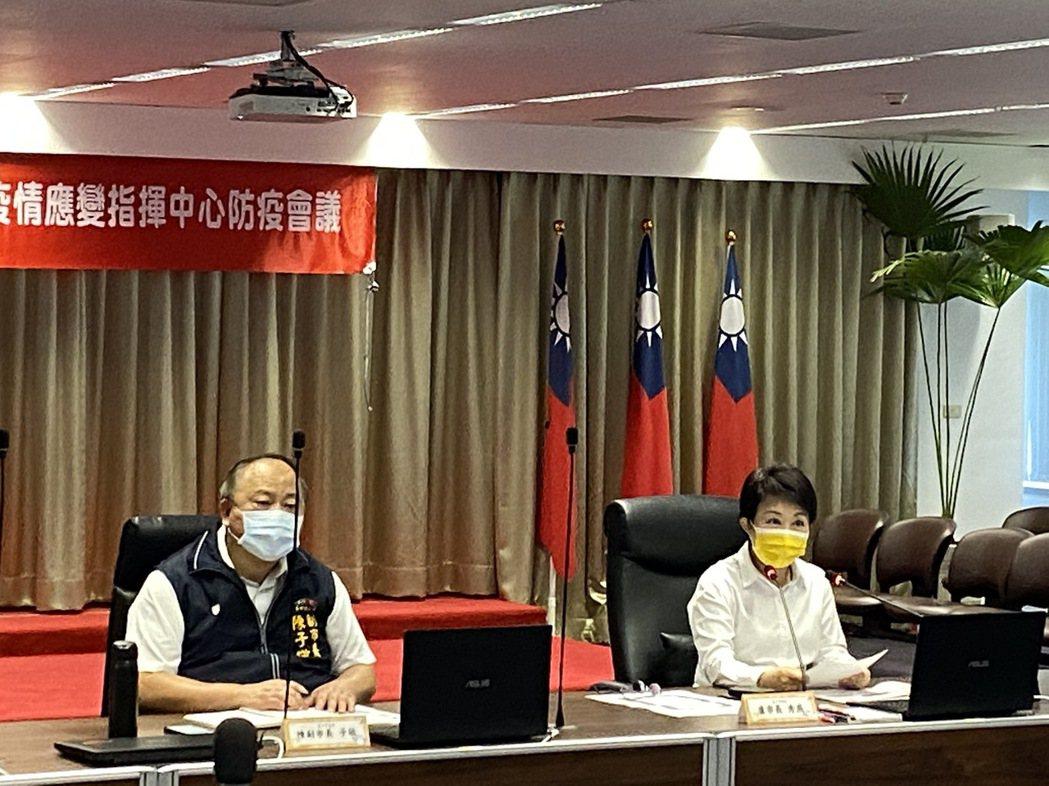 疫情升溫,台中市政府今天上午召開臨時緊急防疫會議,由市長盧秀燕(右)主持。記者趙...