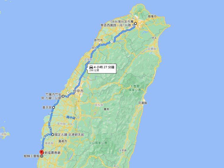 案1221於5月7日參加為期2日的萬華青龍宮進香團,主要活動足跡圖。圖/擷自go...