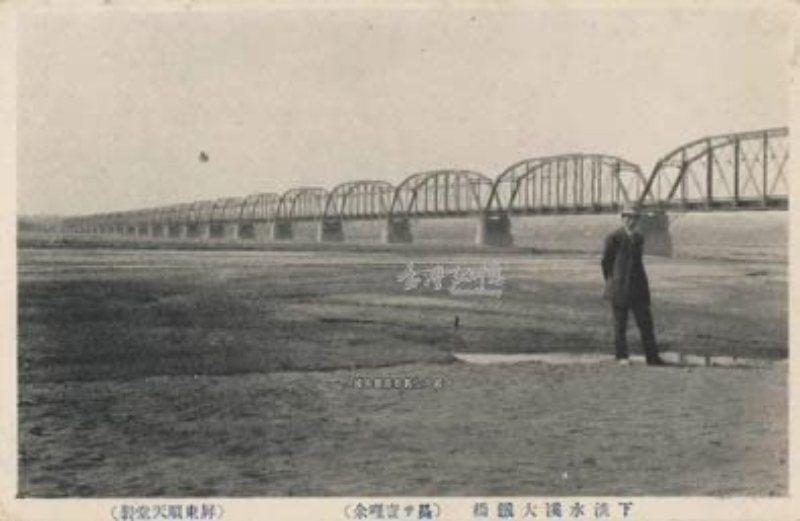 「Katansui-Kei」是下淡水溪,今天稱為高屏溪。圖為下淡水溪大鐵橋,約攝於1920年代。 圖/取自臺灣記憶