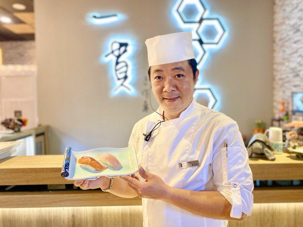 「一貫手作壽司」料理長陳明彰,在中部日本料理界相當有名。記者宋健生/攝影
