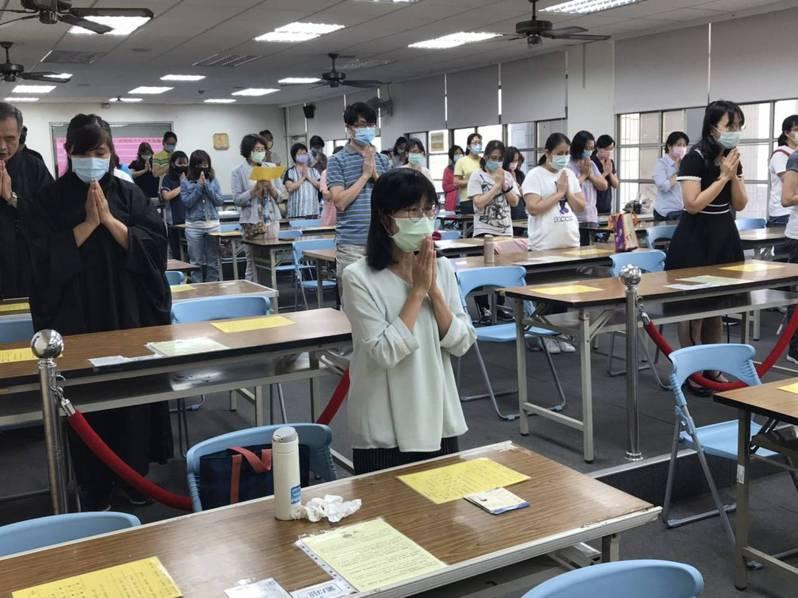 台南市後甲國中在會考前舉辦祈福會,祈求考試順利。圖/後甲國中提供