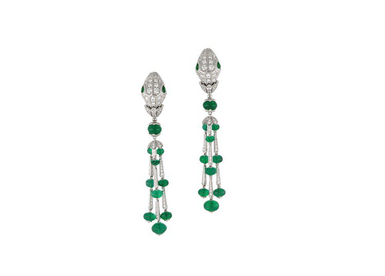 BVLGARI Serpenti系列頂級白K金與祖母綠鑽石耳環,白K金鑲嵌祖母綠...