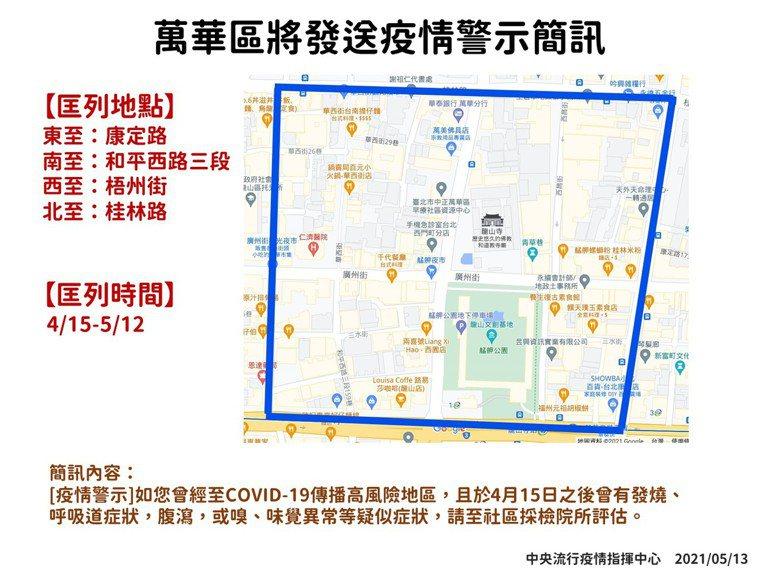 萬華區疫情警示簡訊。圖/指揮中心提供
