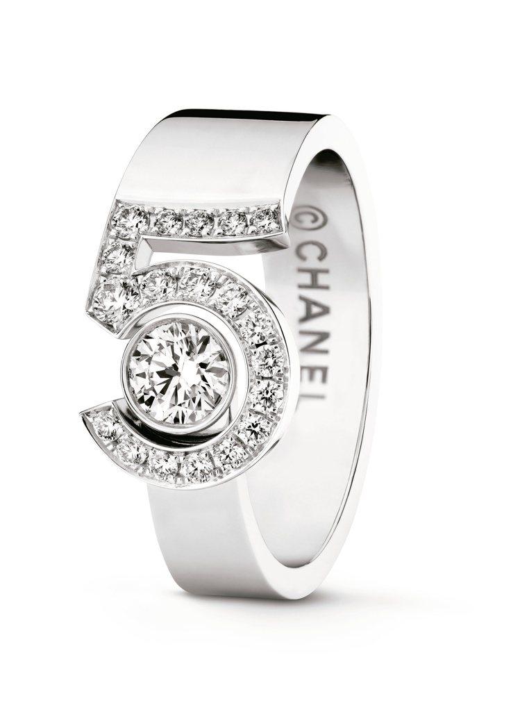 ETERNAL N°5戒指,18K白金鑲嵌1顆重約0.25克拉明亮式切割鑽石及1...
