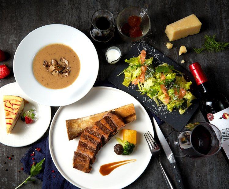 「經典牛小排」搭配蘿美鮭魚沙拉、松露菌菇濃湯等豪華配餐,王品牛排也能在家吃。圖/...