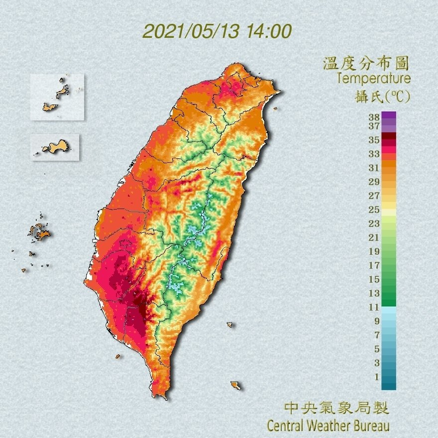 太平洋高壓增強,幾乎全台飆高溫。圖/擷取自氣象局網站