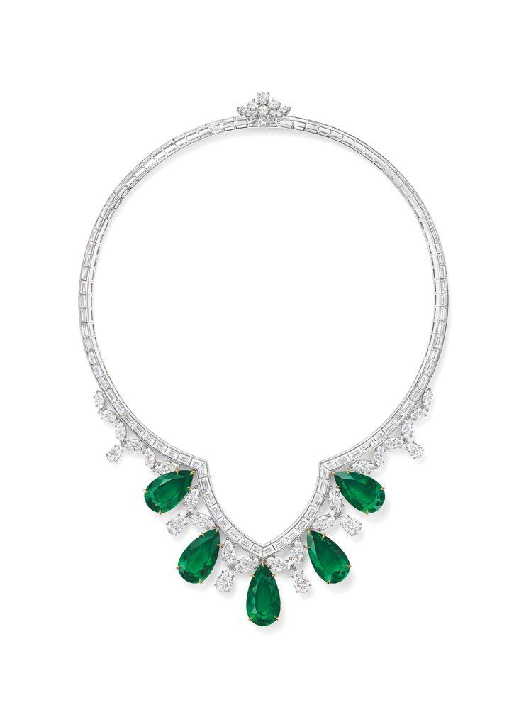 海瑞溫斯頓New York系列Cathedral祖母綠和鑽石項鍊,1億6,000...