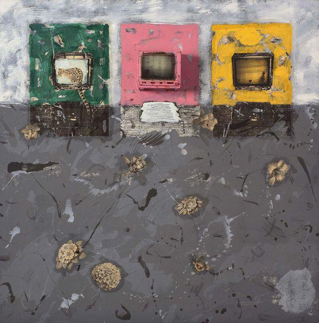 盧明德,《榛名之約II》,1989,複合媒材,122 × 122 公分。(圖/台...