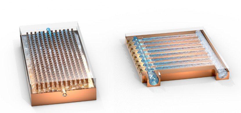 現有市場熱交換面板。左圖:銅柱式、鰭片式、曲道式。右圖:薄型熱交換面板,噴射冷卻...