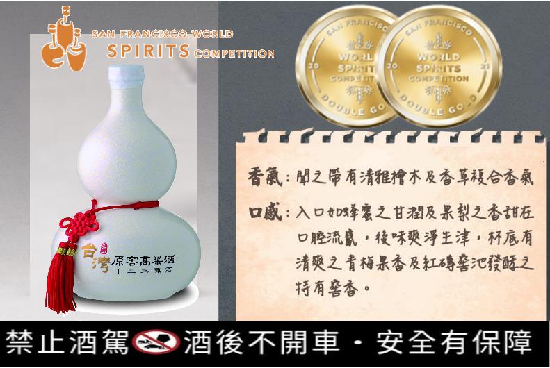 台酒原窖12年52%榮獲2021舊金山世界烈酒競賽(SFWSC)雙金獎殊榮。台酒...