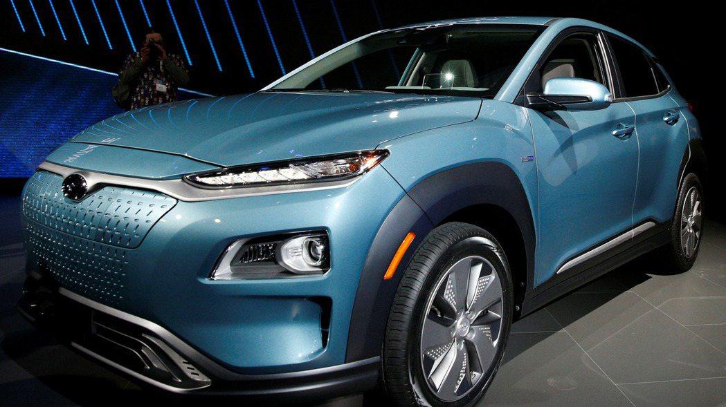 現代汽車 Kona電動車。路透