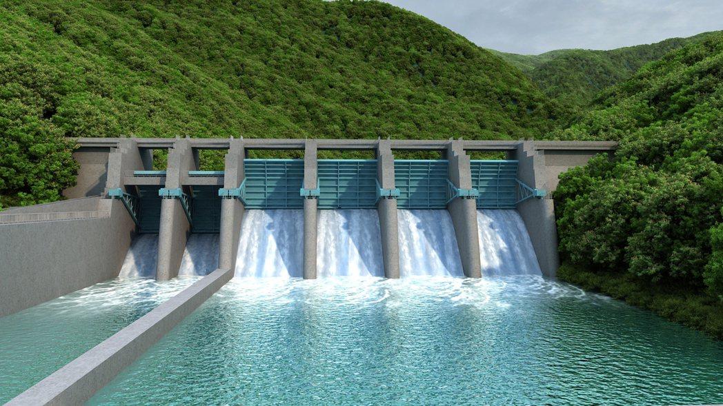 豐坪溪電廠攔河堰完工示意圖。 圖/世豐電力公司提供