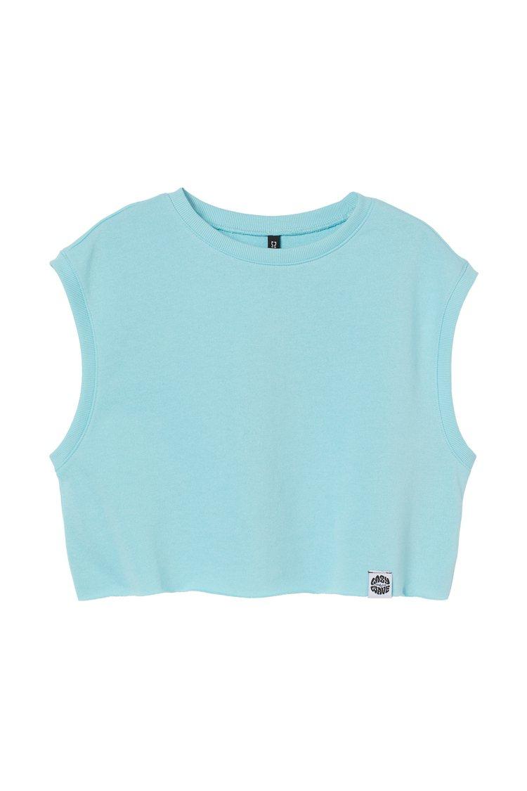 H&M滑板衝浪夏季系列短版運動上衣349元。圖/H&M提供