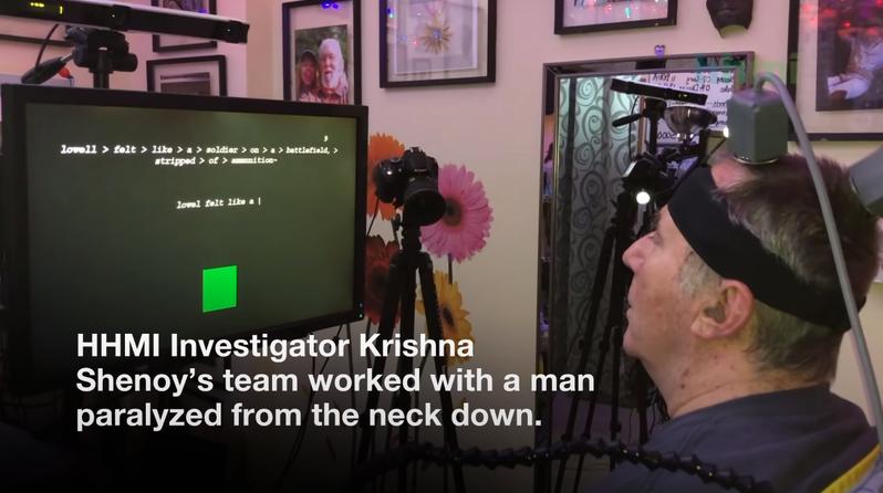 65歲重度癱瘓男子利用腦機介面晶片實現「意念輸入法」,憑藉在腦中想像如實打出螢幕上的例句。圖/取自YouTube/NPG Press