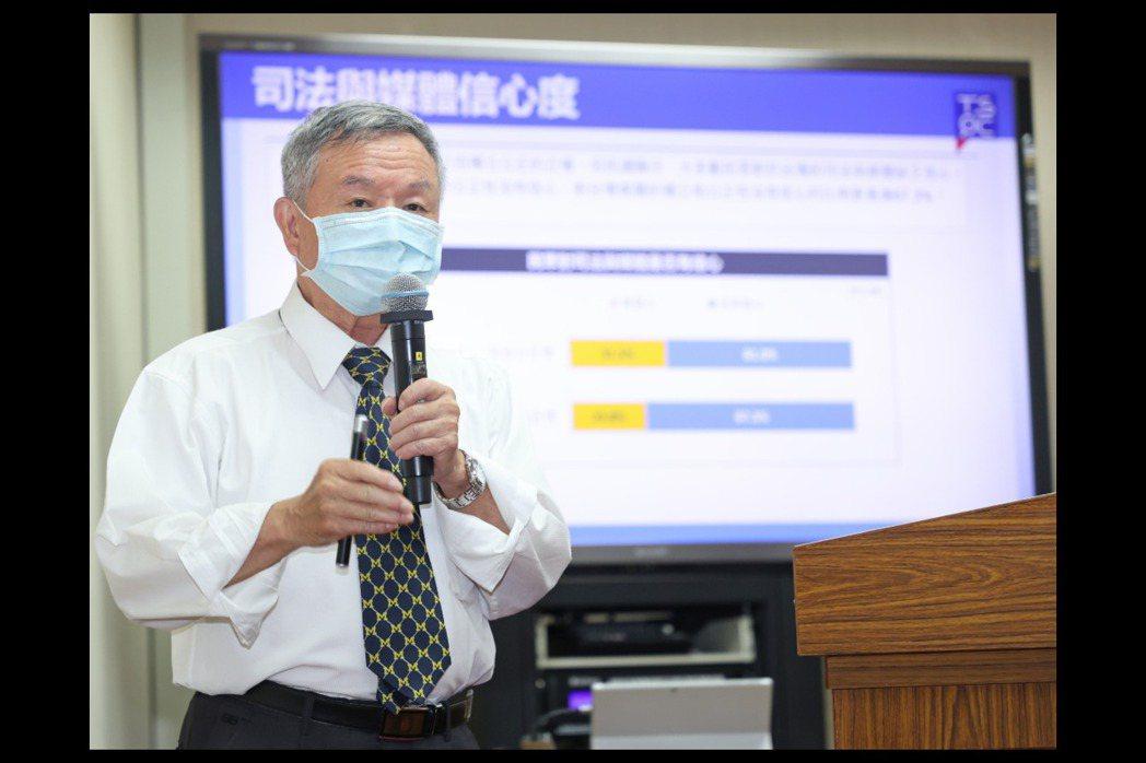 台灣社會調查所所長楊志良今天在立法院舉行「疫情緊繃、國事民調拉警報」記者會,發布...
