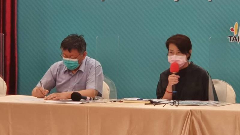 台北市長柯文哲、副市長黃珊珊下午舉行防疫記者會。聯合報系記者楊正海/攝影