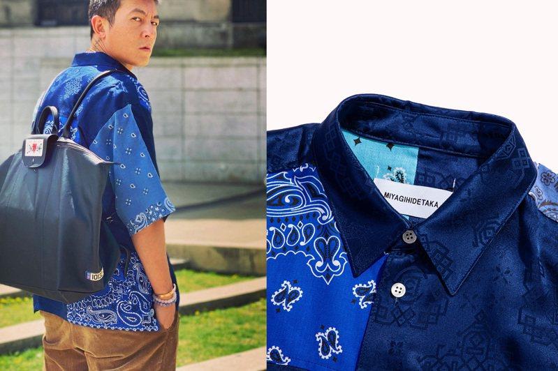 陳冠希帥穿潮牌CLOT與日籍設計師品牌MIYAGIHIDETAKA聯手的變形蟲花襯衫。圖/摘自instagarm