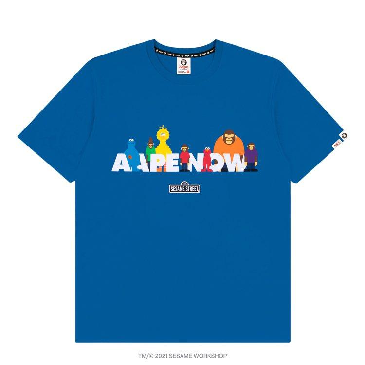 AAPE BY *A BATHING APE芝麻街聯名系列T恤2,399元。圖/...