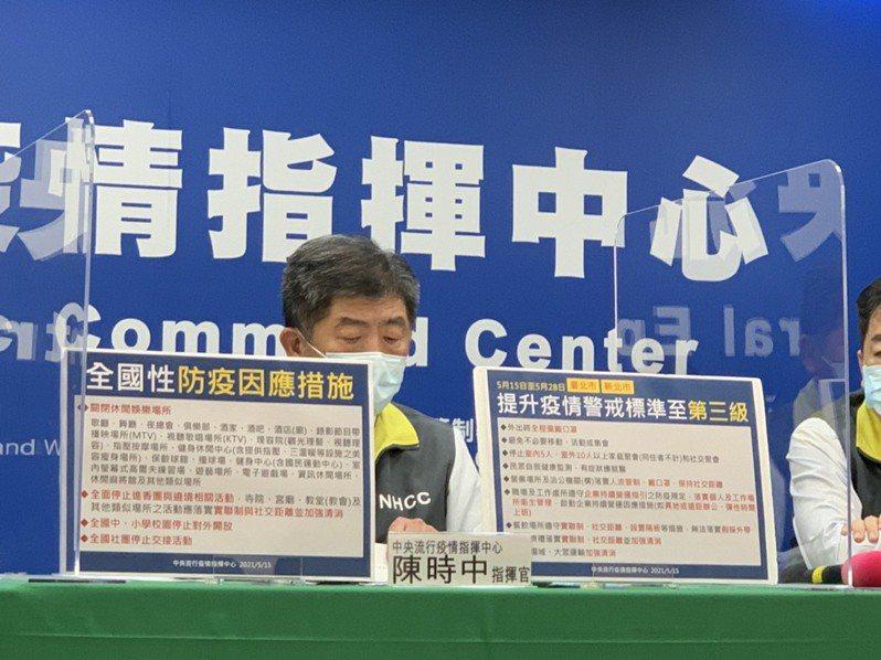 因應社區傳播有擴大趨勢,指揮中心自即日起至5月28日提升雙北地區疫情警戒至第三級。記者陳雨鑫/攝影