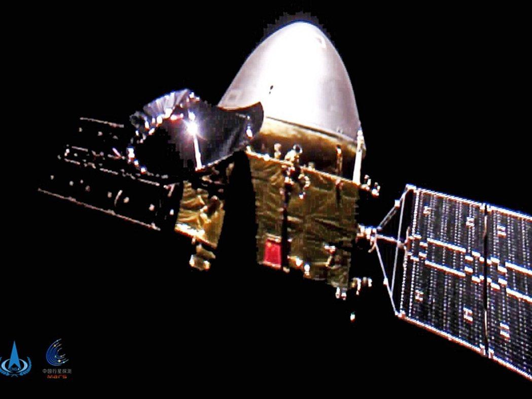 中國國家航天局2020年12月16日發布火星探測器「天問一號」影像。美聯社