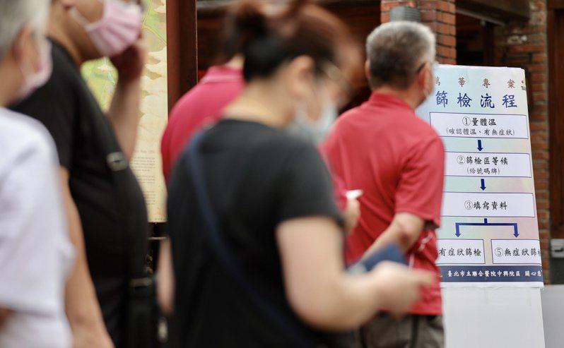 國內昨再新增29例本土新冠病例,台北市在萬華區設4處篩檢站,率先啟動大量快篩,已有不少民眾前往排隊。記者許正宏/攝影