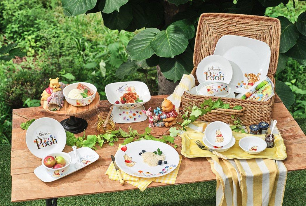 康寧餐具推出小熊維尼系列餐碗盤。圖/康寧餐具提供