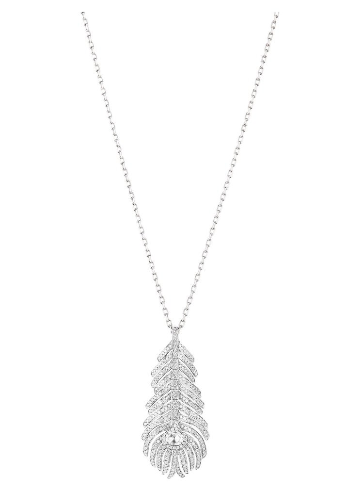 Boucheron Plume de Paon系列白K金鑽石中型尺寸墜鍊,白金7...