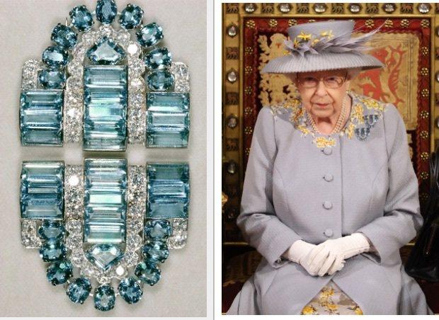 英女王伊莉莎白二世日前出席國會活動時,配戴上Boucheron古董珠寶胸針。圖 ...