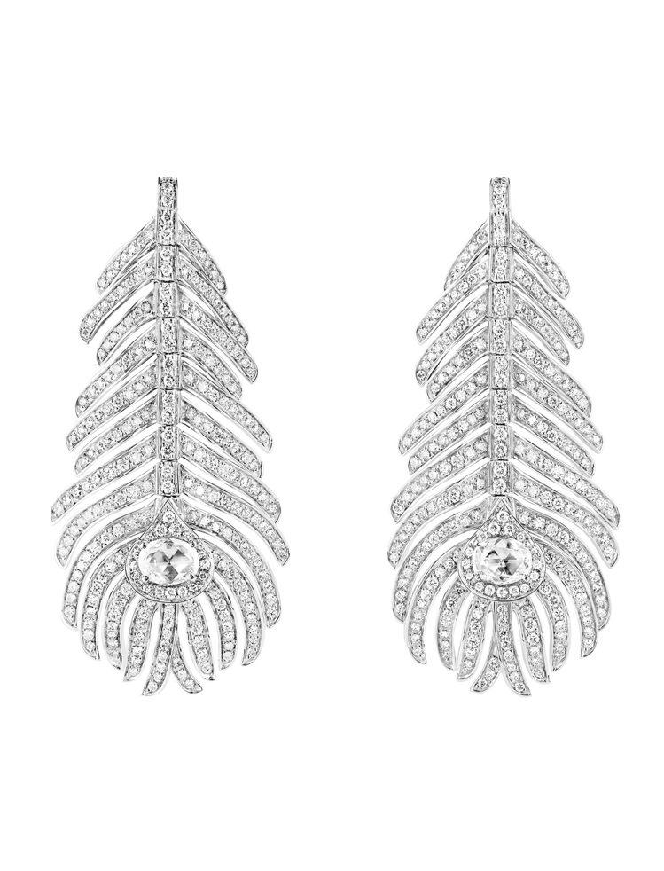 Boucheron Plume de Paon系列白K金鑽石耳環,白金750,鑲...