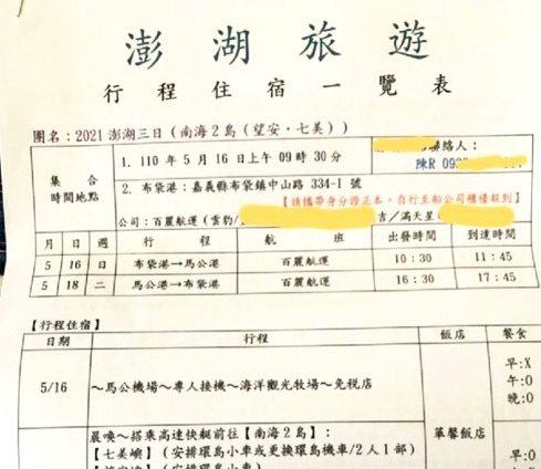 台南參加澎湖旅行團民眾要求旅行社退費,業者拒絕。圖/里長鄭晴而提供