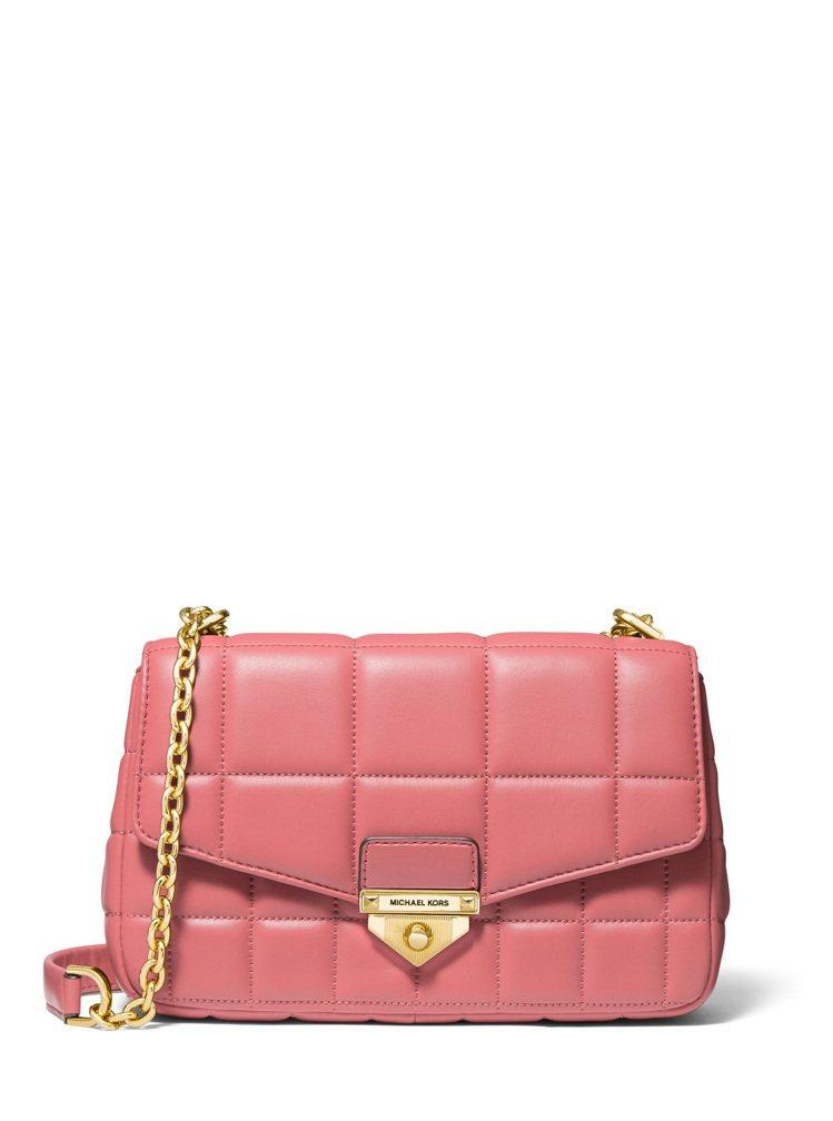 MICHAEL KORS Soho玫瑰茶粉色鍊帶包,20,200元。圖/MICH...