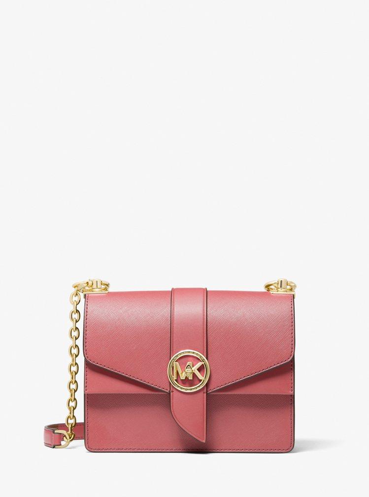 MICHAEL KORS Greenwich玫瑰茶粉色鍊帶方包,15,200元。...