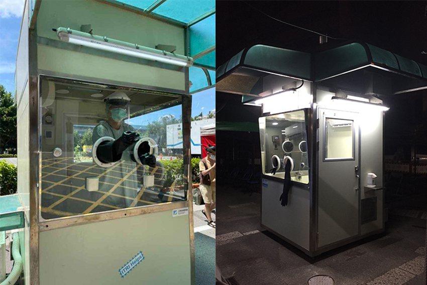 工研院已漏夜搭建完成中興醫院機組與剝皮寮機組兩座正壓式檢疫亭。 工研院/提供