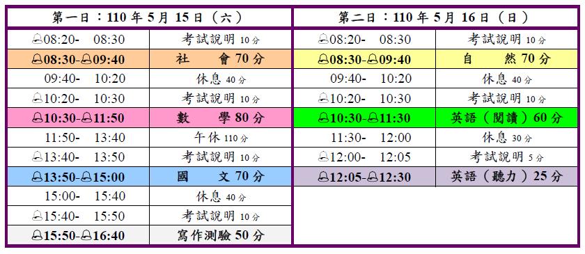 國中教育會考時間表。圖/台師大心測中心提供