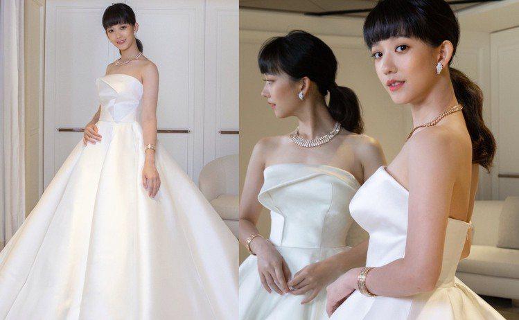 孟耿如試穿婚紗照片曝光。圖/Nicole + Felicia提供