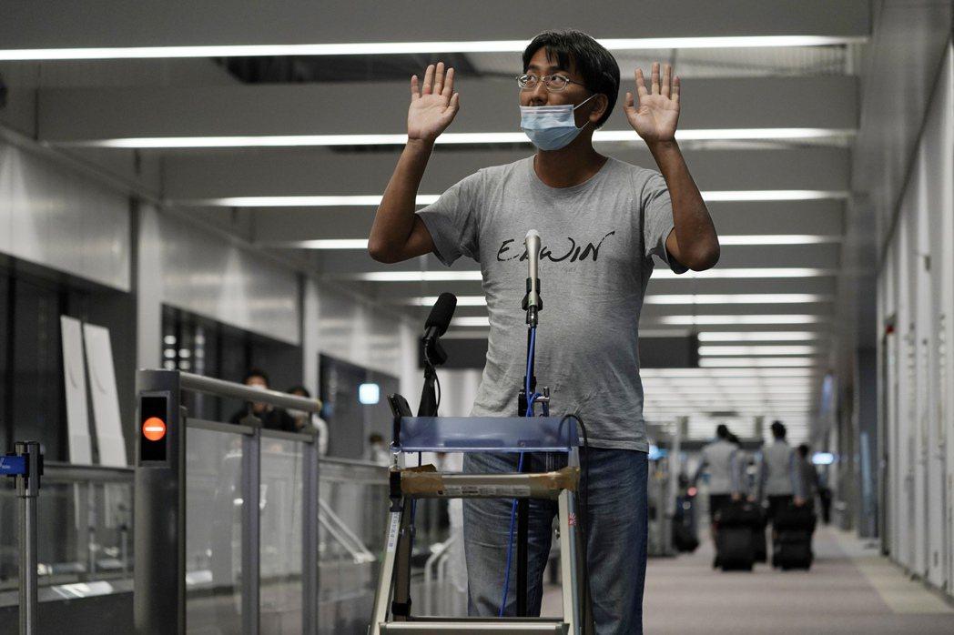 圖為5月14日,被釋放後的北角裕樹在日本成田機場召開記者會。 圖/美聯社