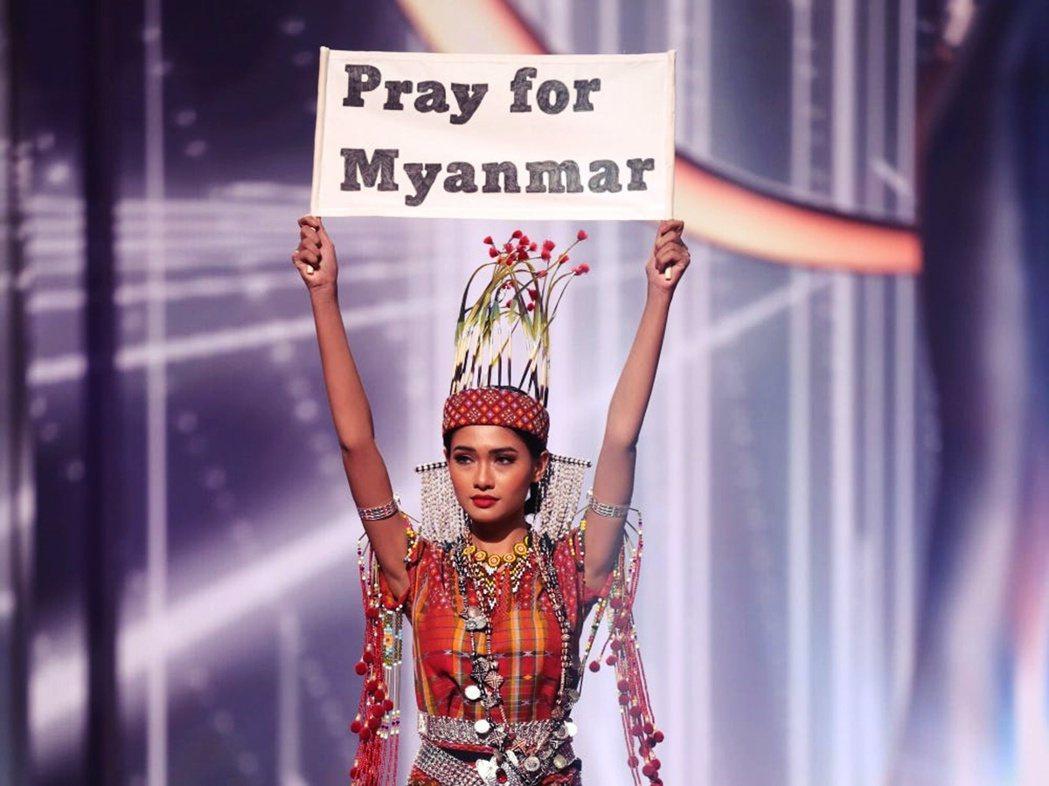 圖為代表緬甸出賽「全球環球小姐選美比賽」的代表Thuzar Wint Lwin。...