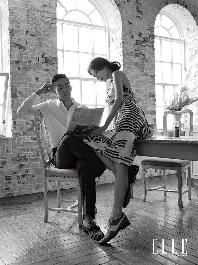 林志玲:線條洋裝、圖樣領巾、低跟皮鞋、金色鍊條項鍊。AKIRA:白色襯衫、藍色西裝褲、黑白格休閒鞋(ALL BY LOUIS VUITTON)。